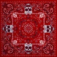 Red Paisley Sugar Skull Bandana Punk Rockabilly Retro Gothic Retro Rock Cotton
