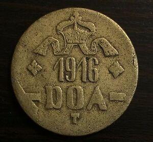 German East Africa 1916-T 20 Heller Large Brass Crown - Tabora Emergency Issue