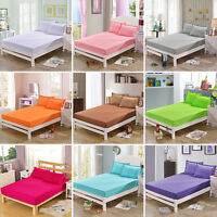 Cotton Fitted Sheet Bed Cover Coverlet Set Pillowcases Comfort Solid Color