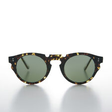 Indie Hipster Sunglasses with Keyhole Bridge Tortoise/Green Lens - Tisch