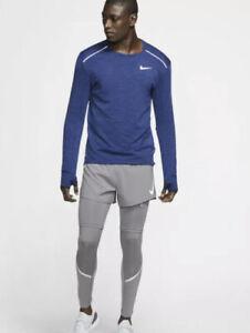 NIKE MEN'S RUNNING LONG SLEEVE THERMA  SPHERE 3.0  TOP BV4707 451 BLUE XL