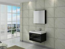 Waschtisch 100cm Badmöbel Set Unterschrank Waschbecken Spiegel schwarz hochglanz