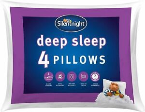 Deep Sleep Pillow Pack 4 Soft Hotel Bed Pillows Machine Washable Hollowfibre Eas