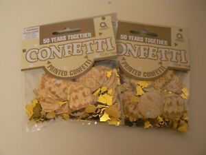 Amscan 50 Years Together Printed Confetti 2 Pack Gold 0.5 Oz. Anniversary Party
