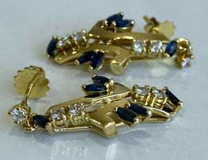 18CT solid gold w/ Sapphire & 0.36CT Diamond earrings 5.92g