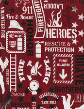Fire Fighter Words-Red B/G-Hose-Smoke-Ladder-Courage-Heroes-BTY