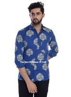 Blue Cotton Men's Slim Fit Long Sleeve Button Shirts Indian Regular Casual Shirt