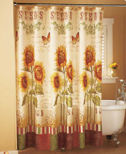 Sunflower Shower Curtain Country Bathroom Accessories Fabric Yellow Floral Decor