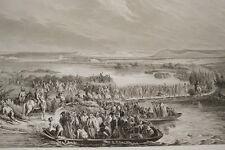 NAPOLEON REVOLUTION PASSAGE DU RHIN A KEHL GRAVURE 1838  R1316 IN FOLIO