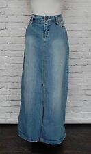 Maurices Denim Skirt Long Straight Blue Jean Maxi Slit Size 7/8 NICE #45