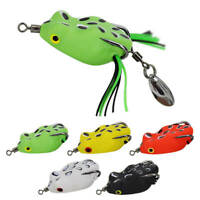 5pcs Topwater Fishing Lures Frog & Metal Spoon Lure Soft Lure Bait &Hook 5.5g