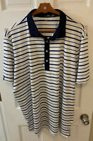 RLX Ralph Lauren Polo Shirt Men 2XL XXL White Blue Royal Navy Golf Striped New