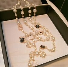 Korean Long Simulated Pearl Necklace For Women No.5 Double Layer Flowers
