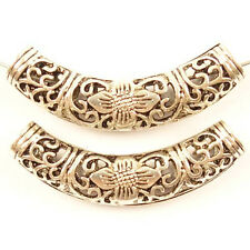 2pcs Carved Tibetan Silver Hollow Elbow Tube Pendant Bead 54x12x8mm KK22273