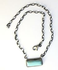 Native American Sterling Silver Navajo Kingman Turquoise Necklace. Signed