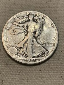 1921 S WALKING LIBERTY HALF DOLLAR GOOD CONDITION SCARCE DATE