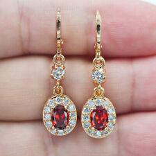 18K Yellow Gold Filled Women Oval Red Topaz Zircon Dangle Earrings Jewelry