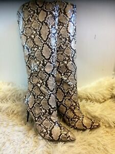 Brand New in Box Faux Leather Snakeskin Knee High Boots size UK 8