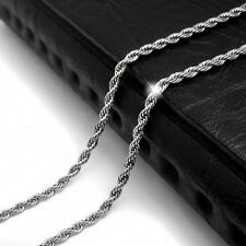 """New 2.5mm Unisex Men's Silver Tone Twist Rope Stainless Steel Chain Necklace 20"""""""