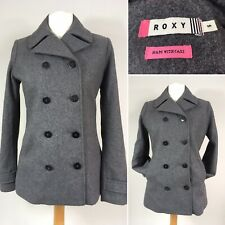Roxy Wool Mix Military Style Pea Coat Jacket Small UK 10 Grey Double Breasted