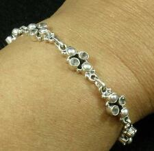 "Solid .925 Sterling Silver White Pearl Faceted Smoky Topaz Bracelet 7 7/8""+ Long"