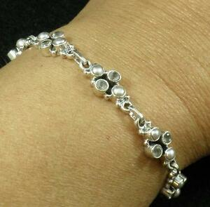 Solid .925 Sterling Silver White Pearl Faceted Smoky Topaz Bracelet Large Long