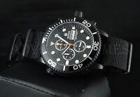 DEEP BLUE 44mm BLACK PVD Master 1000 Chronograph SAPPHIRE Watch w Extra Strap