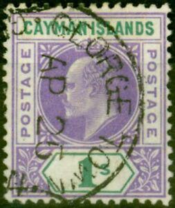Cayman Islands 1907 1s Violet & Green SG15 Fine Used