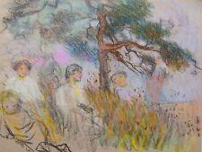 Ilustradores cuatro mujeres y niño bajo Árbol pastel Susan Beatrice Pearse C1900