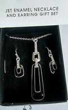 Avon Jet Black Enamel Necklace & Pierced Earrings Gift Set