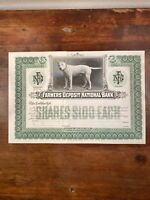 Early 1900's Farmers Deposit National Bank Stock Certificate - Unissued