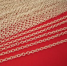 15ft-Silver Plated Brass Cross Oval Cable Chain 2.5x2mm.