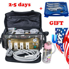 Portable Dental Turbine Unit Messenger Bag Air Compressor Syringe handpiece Kit