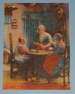 """VTG VIKING PICTURE PUZZLE WEEKLY JIGSAW """"AT GRANDMOTHER'S"""" FUN SHAPES 1930'S CIB"""