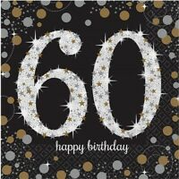 SPARKLING CELEBRATION AGE 60 LUNCH NAPKINS PACK OF 16 BIRTHDAY PARTY SUPPLIES