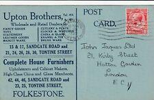 GB FOLKESTONE George V 1d UPTON BROS advertising card Hockey Stick Repair 1929