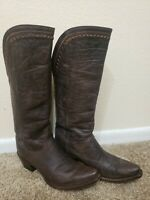 Women's LUCCHESE M4910 Distressed Tobacco Leather Vera Western Cowboy Boots 7 B