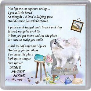 "Samoyed Dog Coaster ""HOME SWEET HOME Poem ...."" by Starprint"