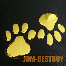 3D GOLD Dog Animal Paw Foot Print Car Window Bumper Body Decal Sticker Emblem