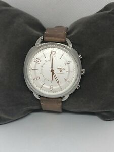 Fossil Q FTW1200 Womens Brown Leather Analog Silver Dial Hybrid Smart Watch QB61