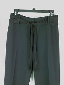 INC. Stretch Ribbon Belt Black Dress Pants Women's Size 4 Polyester Rayon HIP!