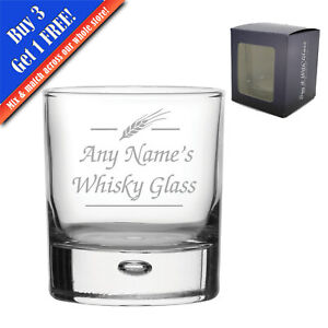Personalised Engraved Novelty 11.5oz Bubble Whisky glass, Names Whisky glass