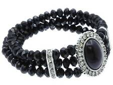 VICTORIAN LOOK THREE STRAND BLACK GLASS FACET BEAD OVAL PENDANT STRETCH BRACELET