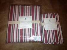 New Pottery Barn Kids Lakehouse Red Stripe Twin Duvet Cover And Sham