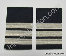 Epaulette Pilot Captain First officer Silver 3 Bars on Navy Blue R1160