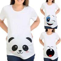 Womens Cartoon Print Pregnants Casual Nursing Blouse Baby For Maternity T-Shirt
