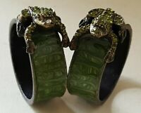 Russian green enamelled metal vintage Victorian antique pair frog napkin rings