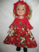 Wellie Wishers/14 inch doll clothes/Christmas dress/headband/felt boots/handmade