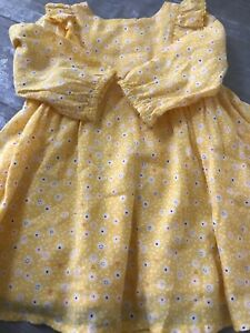 Mothercare Baby Girls Yellow Flower Dress With Cardigan 6-9 Months