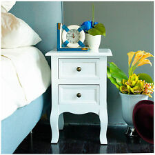 WOODEN BEDSIDE TABLE CABINET NIGHTSTANDS BEDROOM FURNITURE 2 DRAWERS SHABBY CHIC